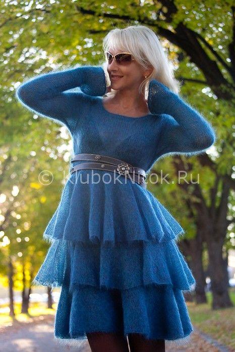 Платье из мохера на спицах