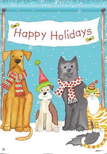 Pet Holiday Christmas House Flag Pets Santa Snow Winter Cat Dog 28