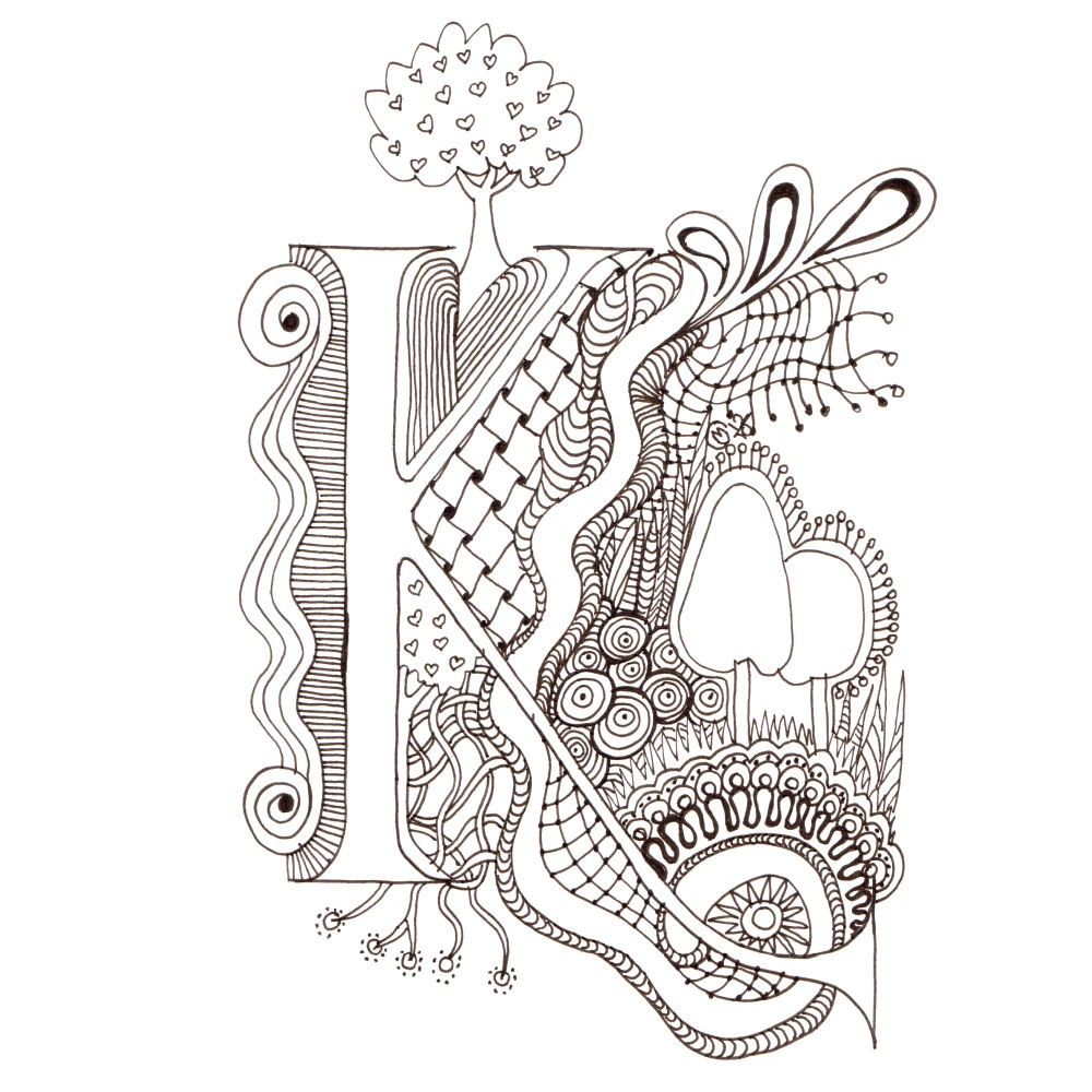 Free Coloring Pages Download : Monogram K Initial Colour Me In Illuminated  Letters Original Of Illuminated