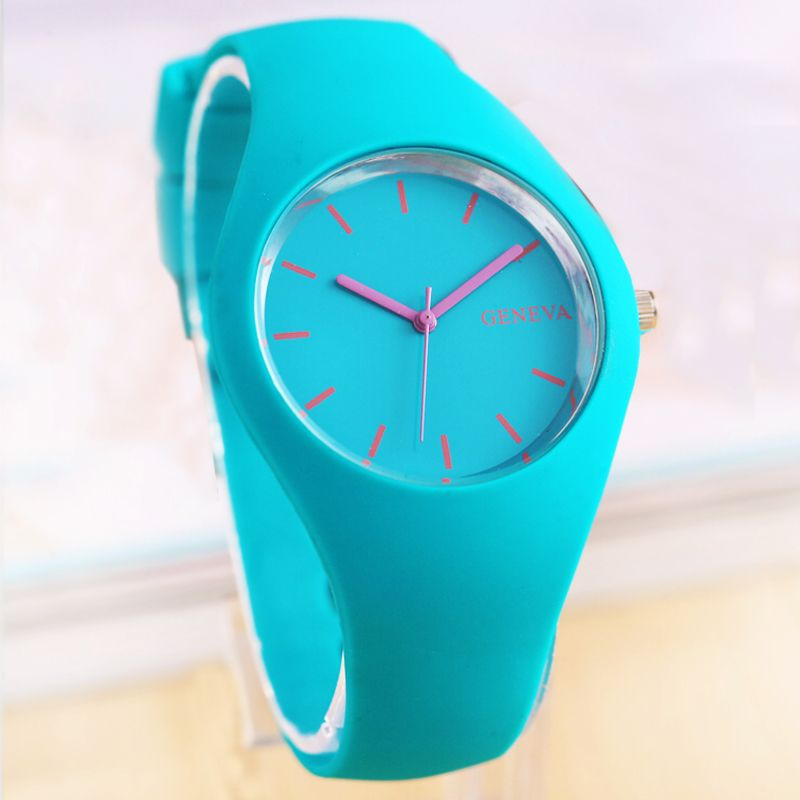 e02c4260f7b Barato Genebra nova moda sports women watch silicone homens de cor de doces  casual relógios de quartzo relógios 12 cor relogio feminino A0130