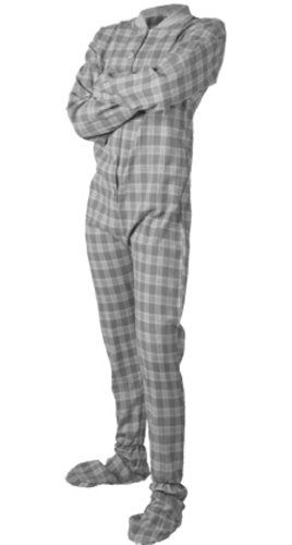 e7b05084ca69 Gray White Plaid Flannel Adult Unisex Footed Pajamas with Drop Seat ...
