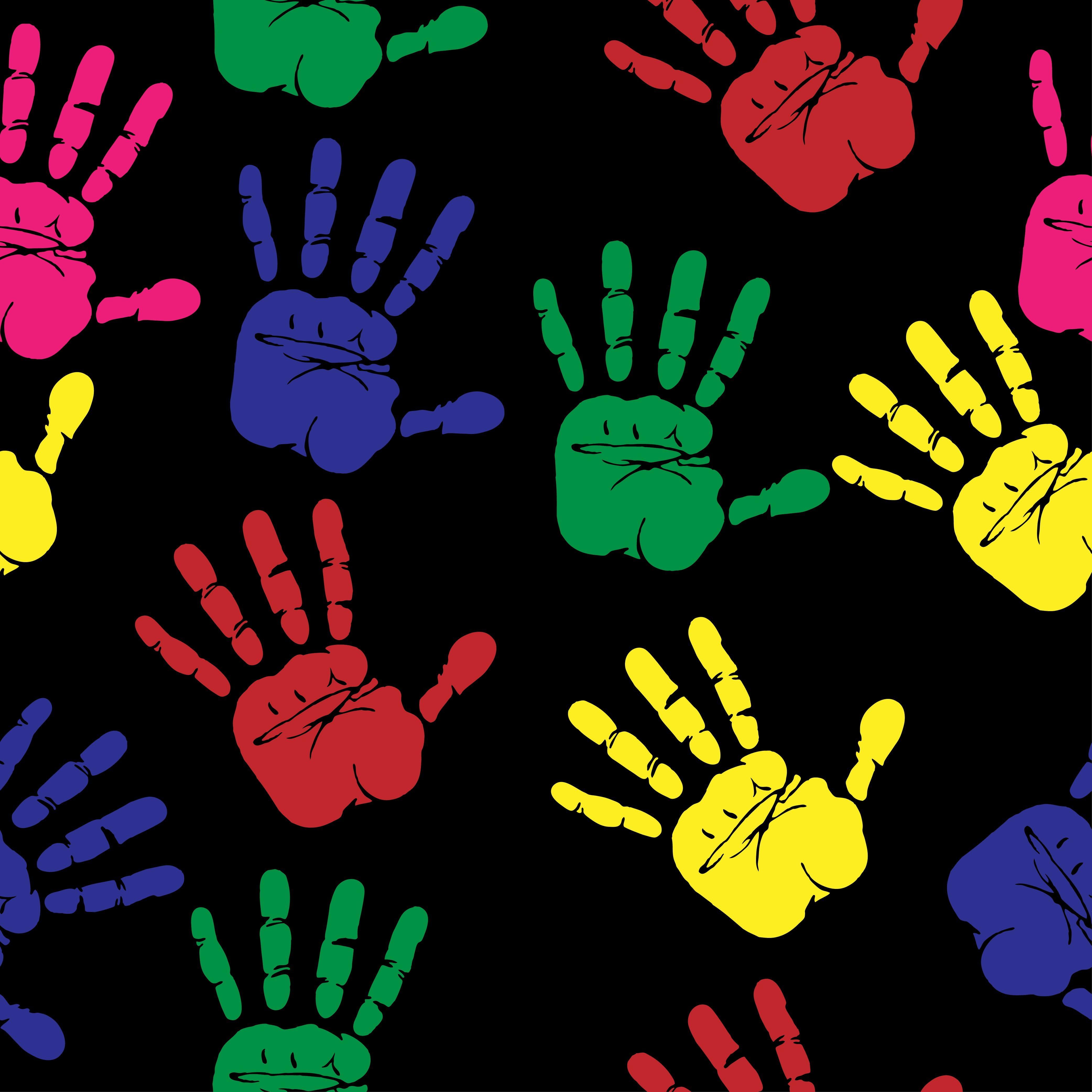 HD wallpaper: assorted-color hand print illustration, hands, prints, art, multi-colored