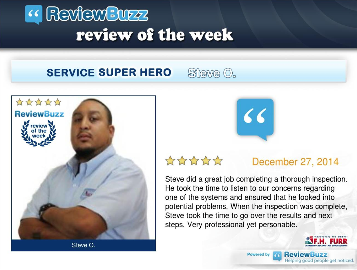 Comfort Tech, Steve O received Review of the Week! Steve