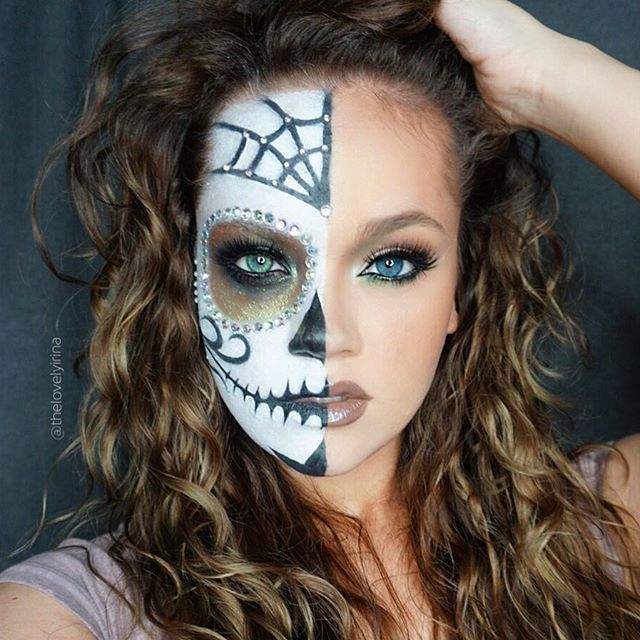 Pretty Sugar Skull Makeup Half Face - Mugeek Vidalondon