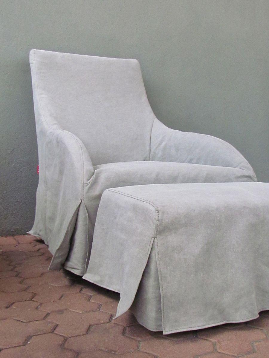 Nutter Lane Chair Ottoman Redinfred Slipcovered