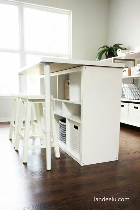 Clever idea for utilising space under a desk in a small crafting space! Love it! Not my photo.