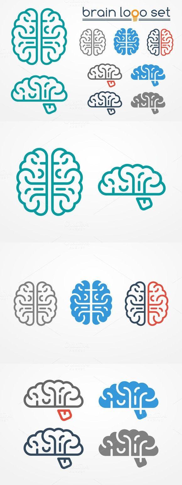 Brain logo set. Human Icons. $4.00 | Logo Inspiration | Pinterest ...