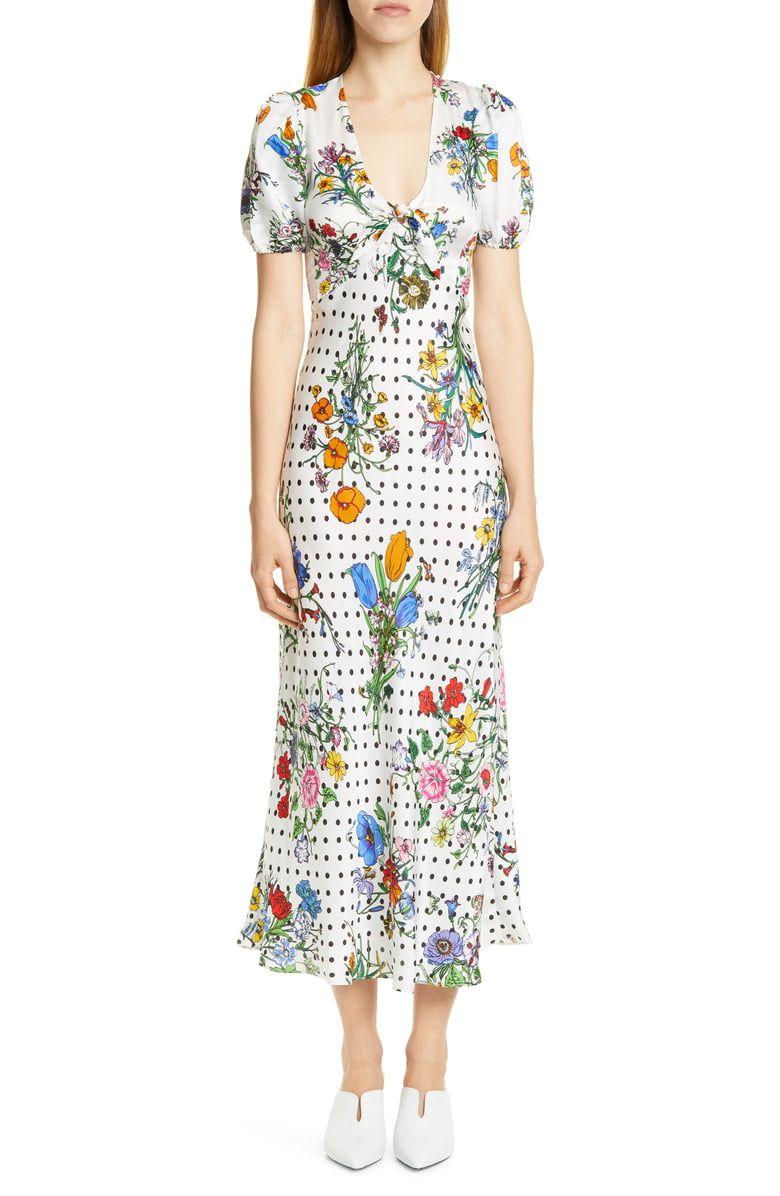 e885f157aab RIXO Star Floral   Polka Dot Print Dress