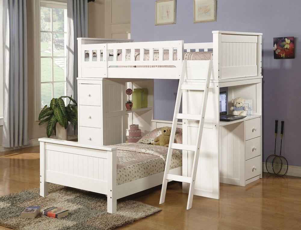 Acme 10970 Willoughby white finish wood loft bunk bed set