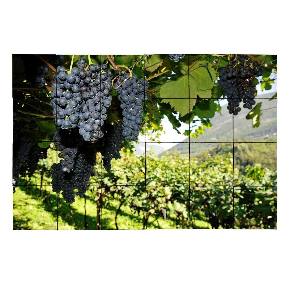 Tile My Style Vineyard4 36 in. x 24 in. Tumbled Marble Tiles (6 sq. ft. /case), Earth Tones/Browns/Greens/Golds.