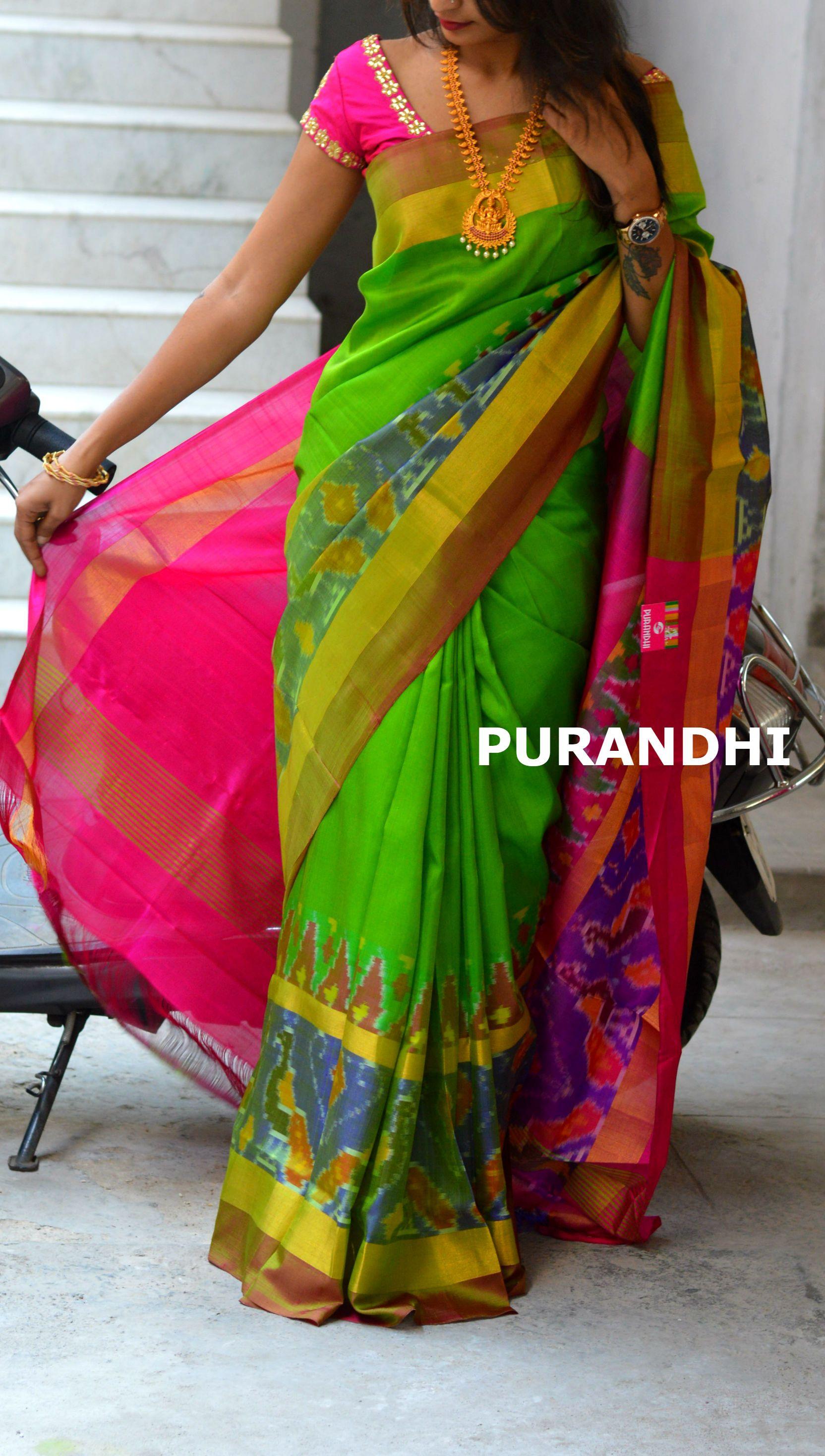 e516e931000555 Parrot green uppada checks saree with pochampally border. For more details  please contact us on whats app   9701673187 Email   purandhistore gmail.com
