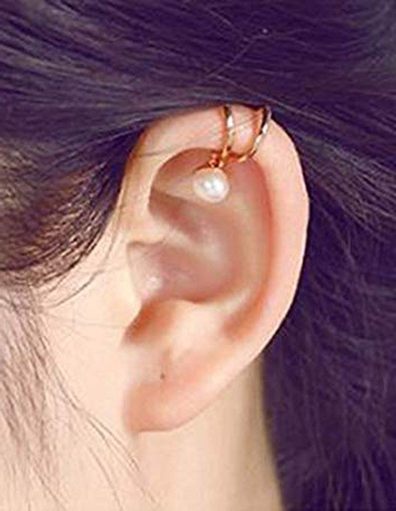 Cartilage piercing ideas  Alina Cute Heart Ear Cuff Cartilage Earring Clip in Silver or Gold