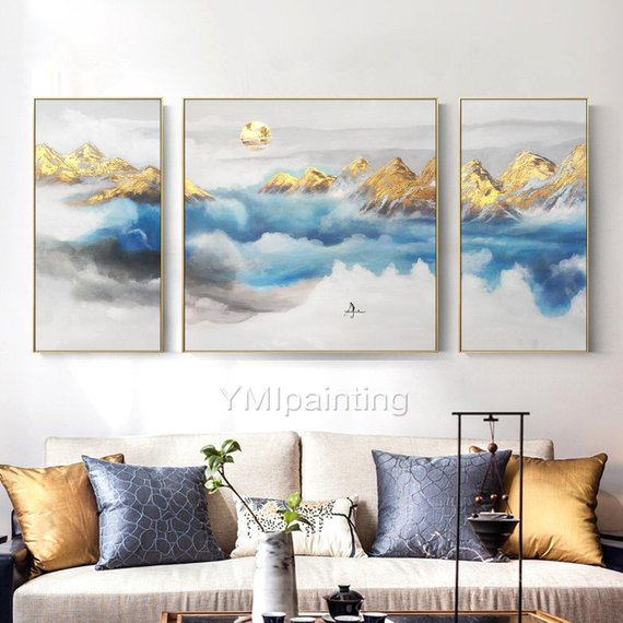 Set Of 3 Wall Art Mountains Modern Landscape Moon Gold Etsy Wall Art Pictures 3 Piece Canvas Art Abstract Art Painting