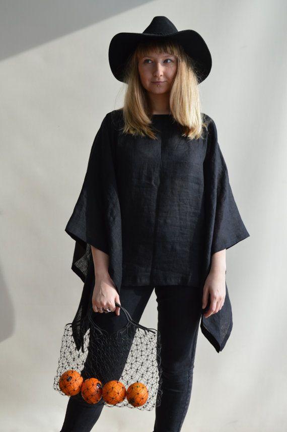 Linen Kimono Top Poncho Top Loose Linen Top by Linenbeeshop