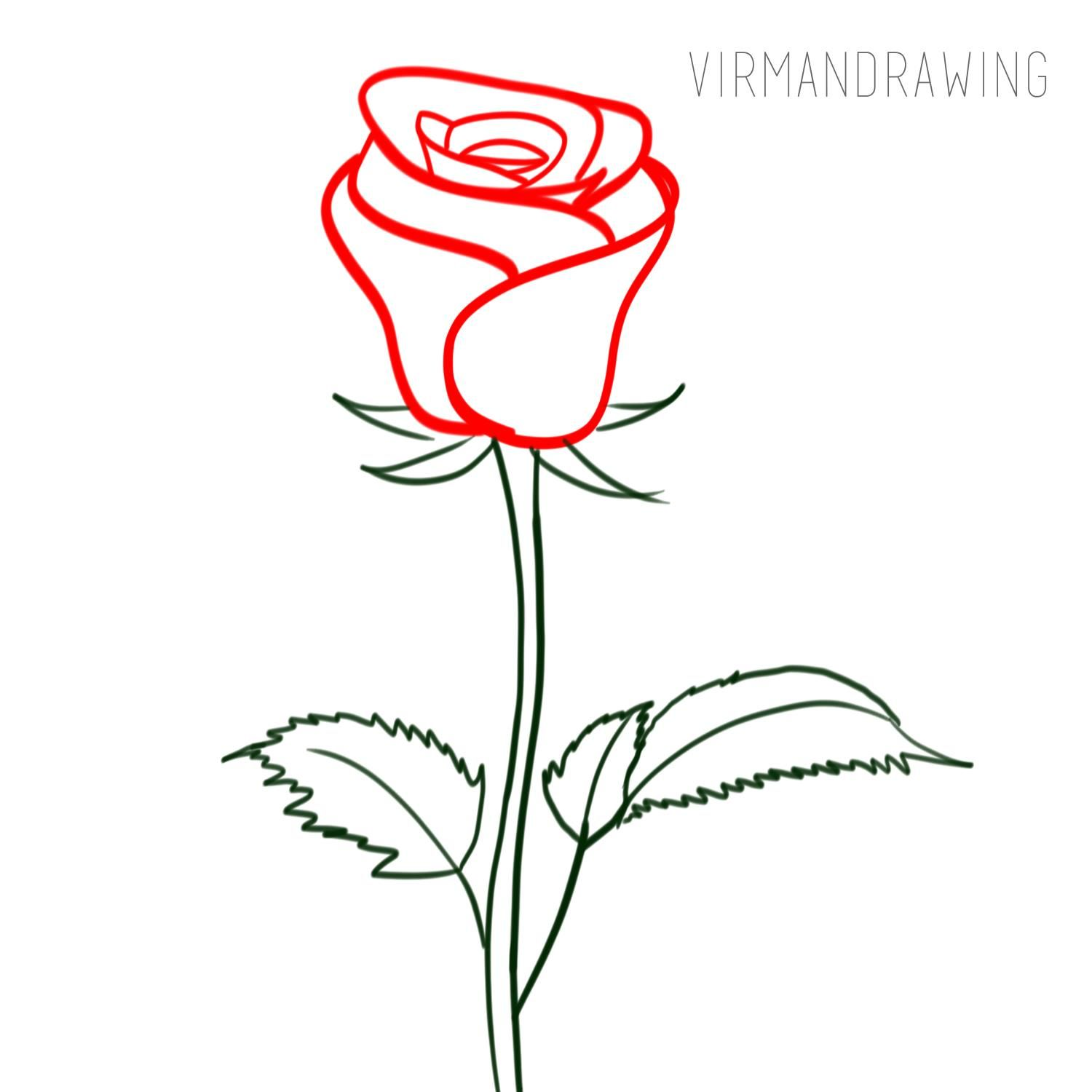 How to Draw a Rose Simple Drawing for Kids. Hello ...