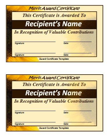 Merit Certificate Template  Wordstemplates