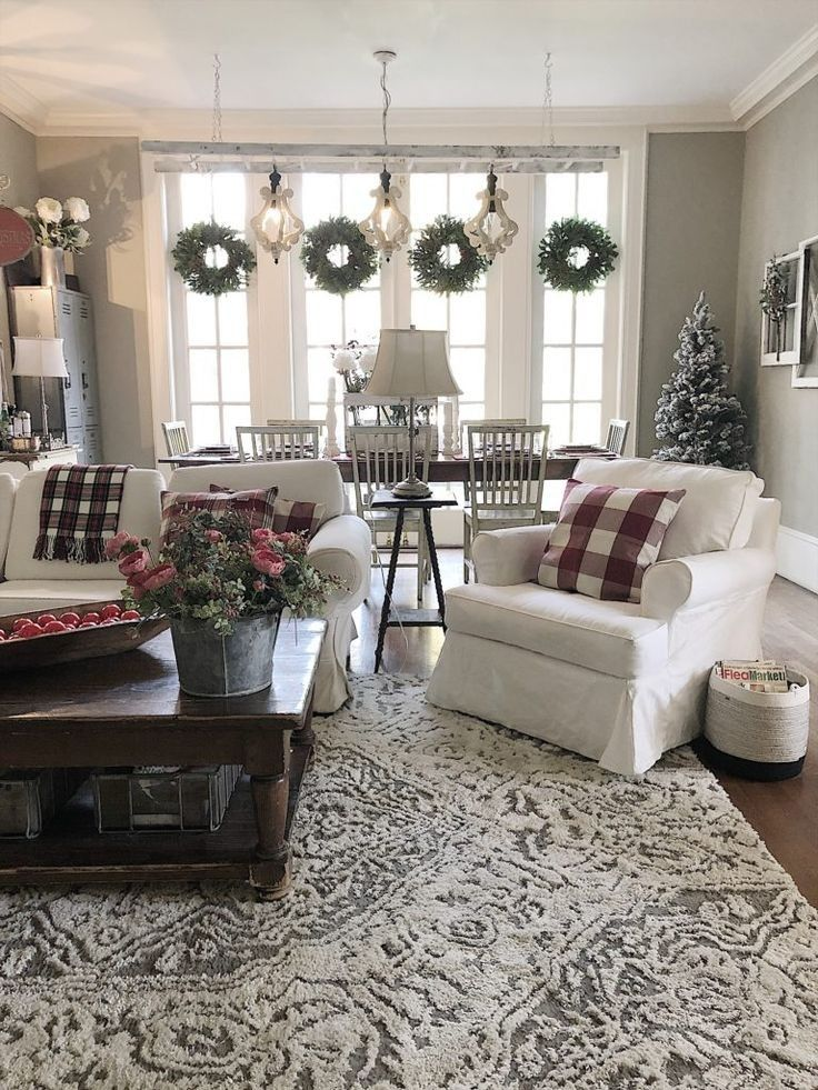 35 Incredible Farmhouse Living Room Design Ideas And Decor 21 In 2020 Farm House Living Room Farmhouse Decor Living Room Christmas Living Rooms