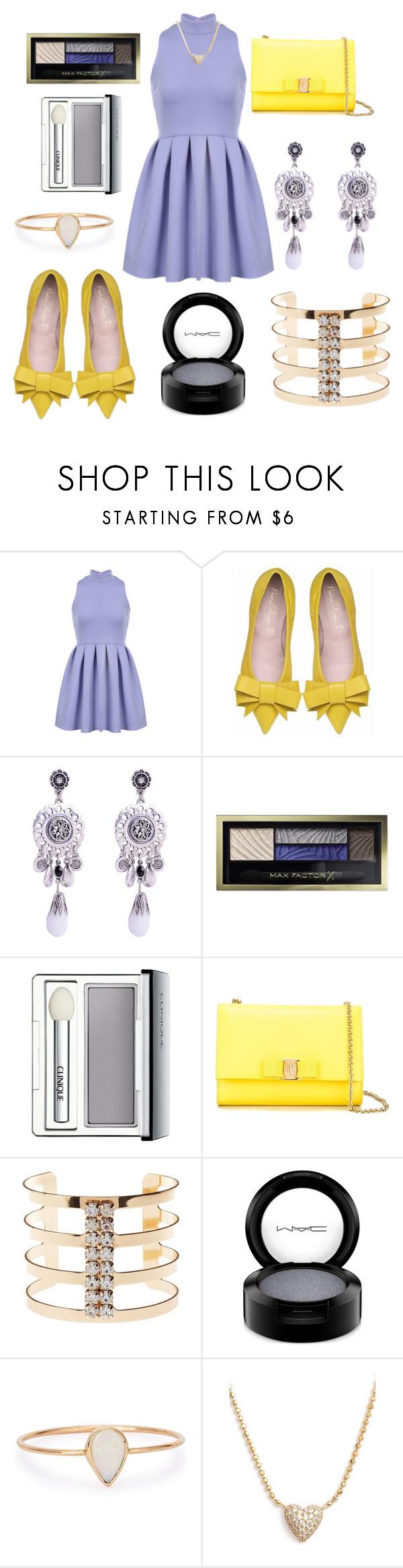 """Cute Dress"" by josie1289 ❤ liked on Polyvore featuring moda, Max Factor, Clinique, Salvatore Ferragamo, Charlotte Russe, MAC Cosmetics, Catbird e Nadri"