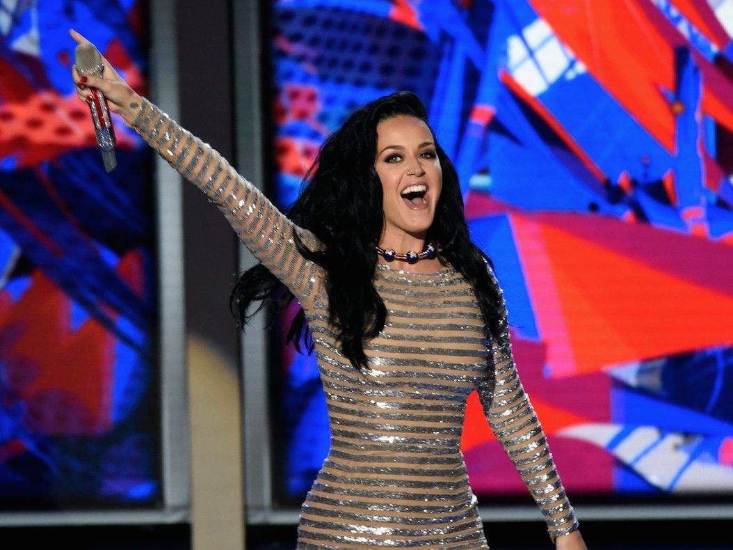Katy walking out on stage at DNC in Philadelphia, Pa on July 28, 2016
