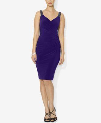 Lauren Ralph Beaded Strap Jersey Dress