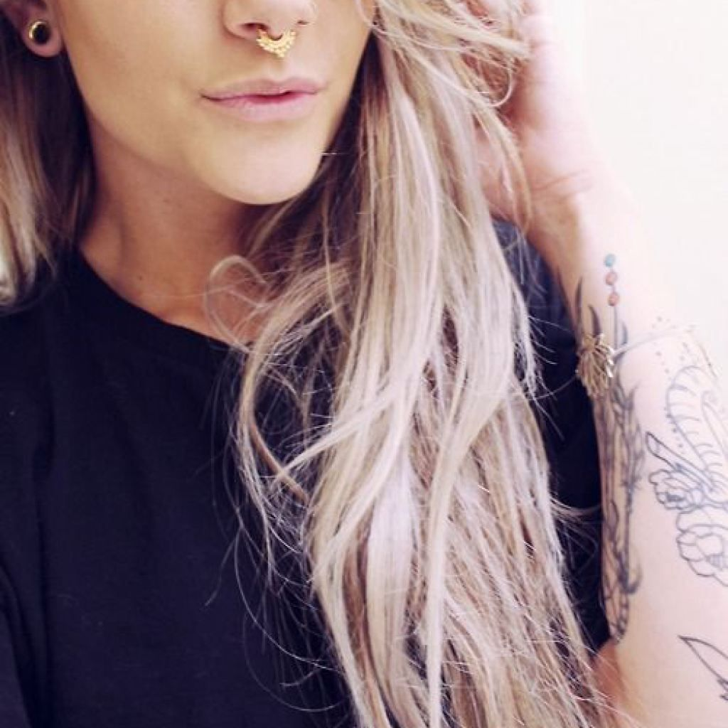 Double nose piercing and septum  cute nose piercings cute girl septum ring  PIERCING AND JEVERLY