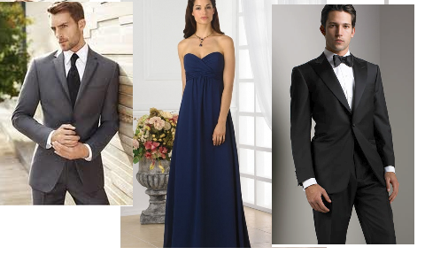 Debating between having guys in a black or charcoal tux to go with the navy wedding color.