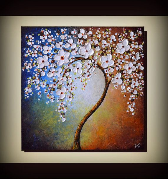 Original Art 24 X 24 Palette Knife Textured Modern Home Decor Landscape Abstract White Cherry Blossom Tree Painting 199 Tree Painting Round Wall Art Abstract