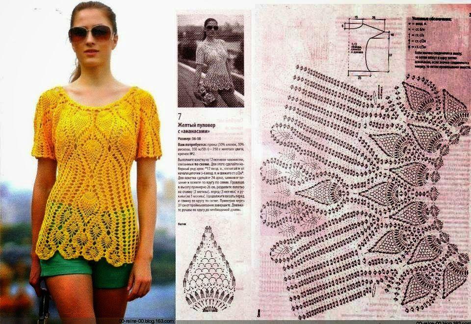 Blusa tejida con ganchillo - con patrones y diagramas | Chsleco ...