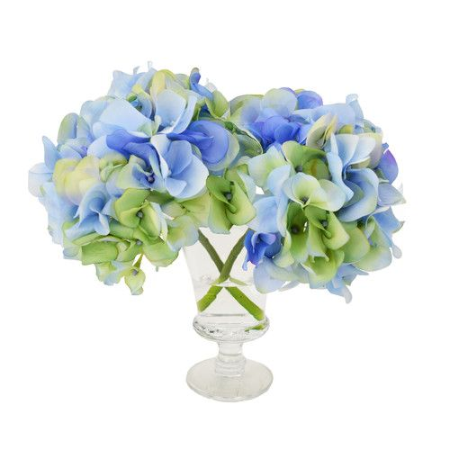 Found it at Wayfair - Hydrangea Blossoms in Acrylic Glass Vase