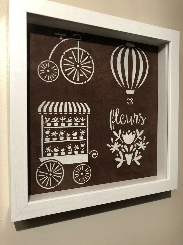 Shadow Box White Frame 10x10 Chocolate Brown White Paris Theme Ebay Shadow Box Shadow Box Frames White Frame