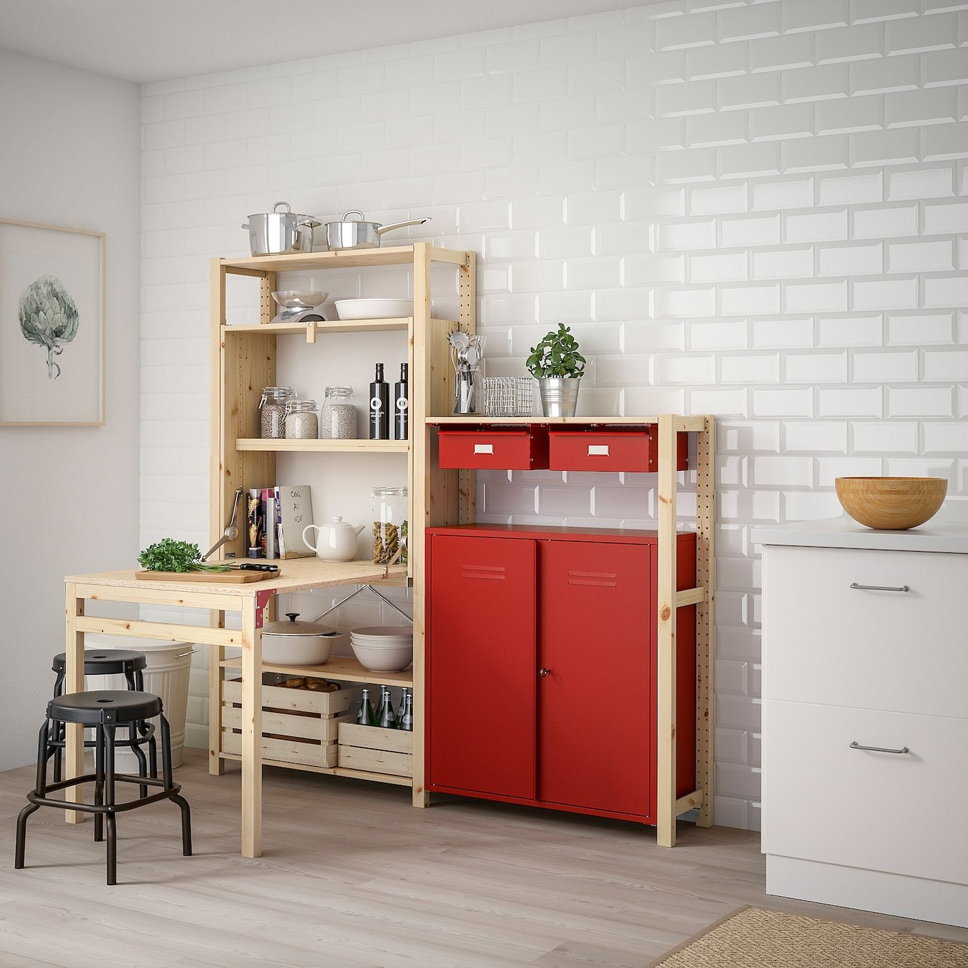 Ivar Shelv Unit W Table Cabinets Drawers Pine Red 175x30