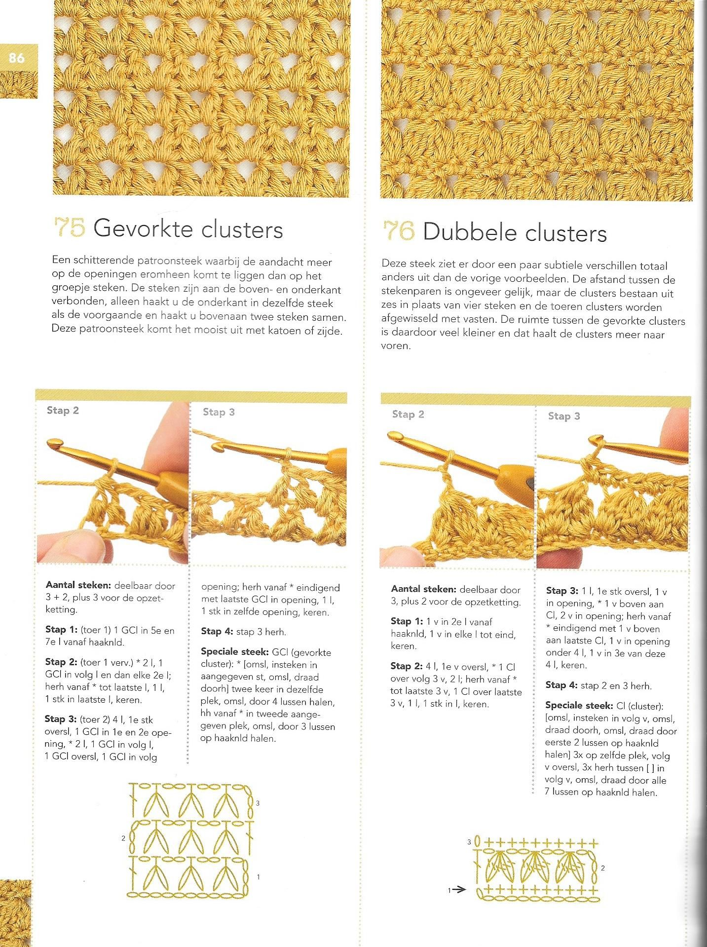 Gevorkte Clusters Dubbele Clusters Haaksteken Haakbijbel Haken