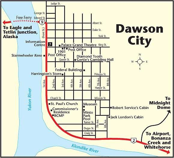 Map Of Dawson Canada Alaska Travel Guide and Trip Planner | Alaska travel guide, Alaska