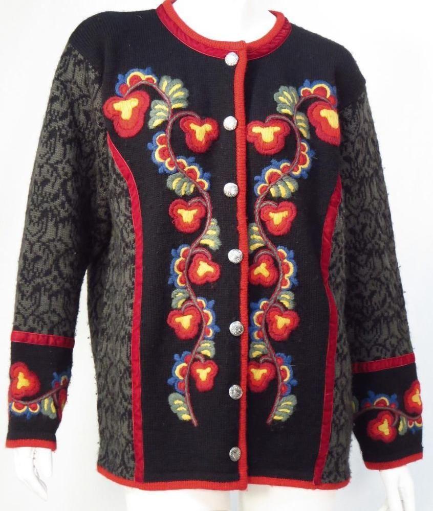 Vrikke Norweigian Irene Huaghland Wool Embroidered Cardigan Sweater - Small * #Vrikke #Cardigan