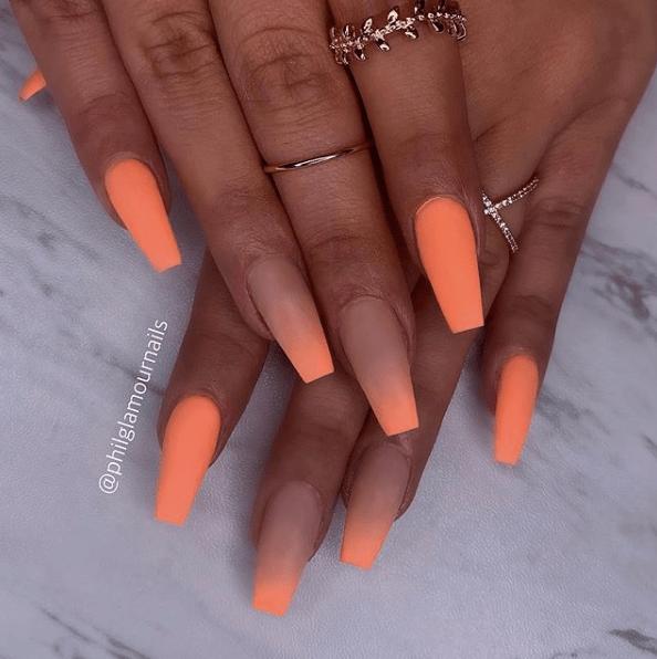 31 Gorgeous Coffin Nails To Take Inspiration From Cherrycherrybeauty Com Image Source Philglamournails In 2020 Pretty Acrylic Nails Orange Nails Orange Nail Art