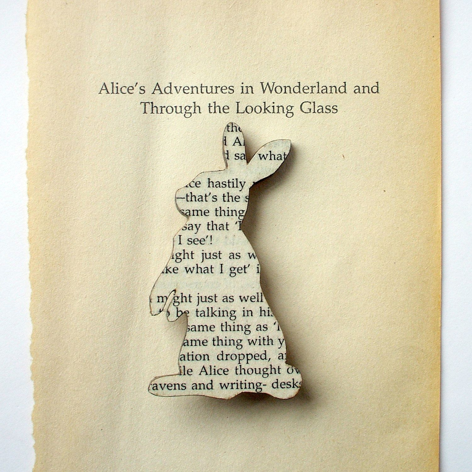 Alice In Wonderland  Rabbit Brooch Classic Book Brooches Made With  Original Pages