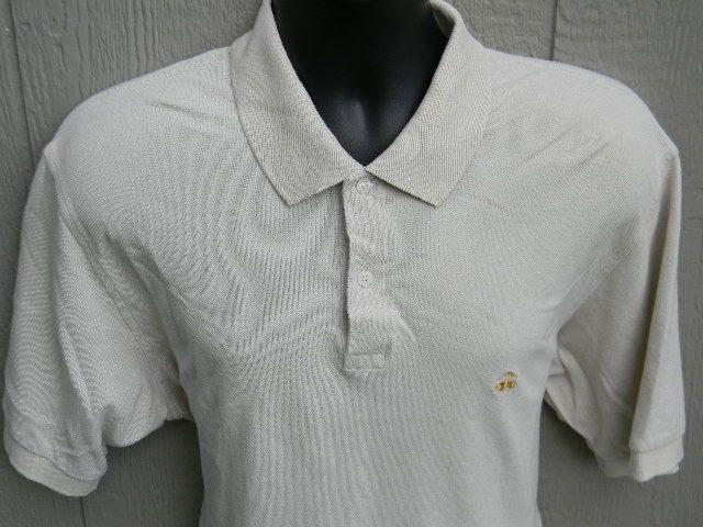 Brooks Brothers 346 Polo Shirt Mens Large L Tan Symbol On Front