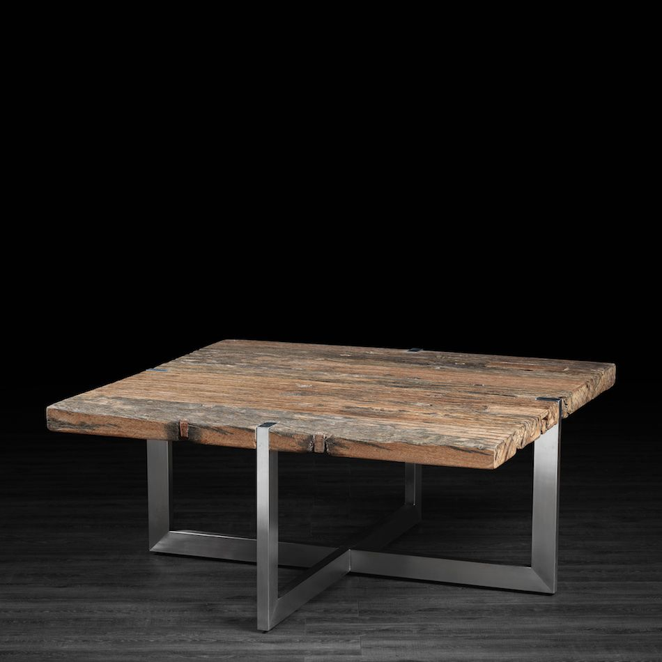 Coffee Table Made Of Recycled Wood From Railway Tracks With Stainless Steel Legs Coffee Table Rustic Coffee Tables Coffee Table Wood