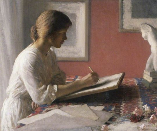 The Student (1908). George Clausen (British, 1852-1944). Oil on canvas.  The works produced after Clausen's move to Widdington, Essex, in 1891 demonstrate a greater interest in movement and atmosphere. Clausen was so prominent in the Royal Academy by this stage that in 1904 he became Professor of Painting, a post he held for two years.