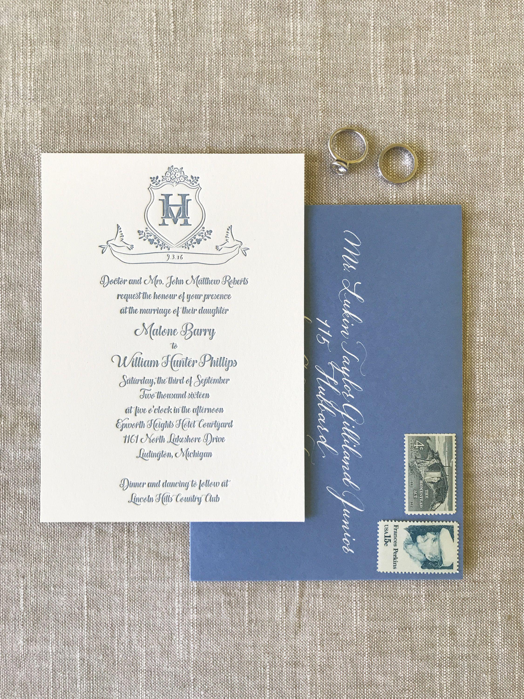 Custom letterpress wedding invitation wedding invitations save the
