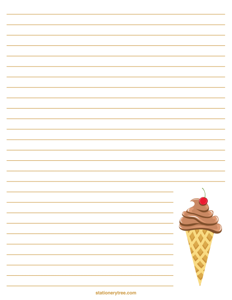 Printable Ice Cream Stationery And Writing Paper Free Pdf