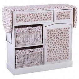 Mueble Plancha Madera Blanco Flores Rosas. Muebles Para Planchar En  Nuryba.com Tu Tienda