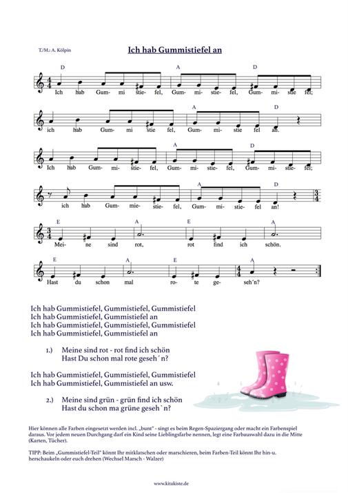 Regenlied Gummistiefel Farben lernen \