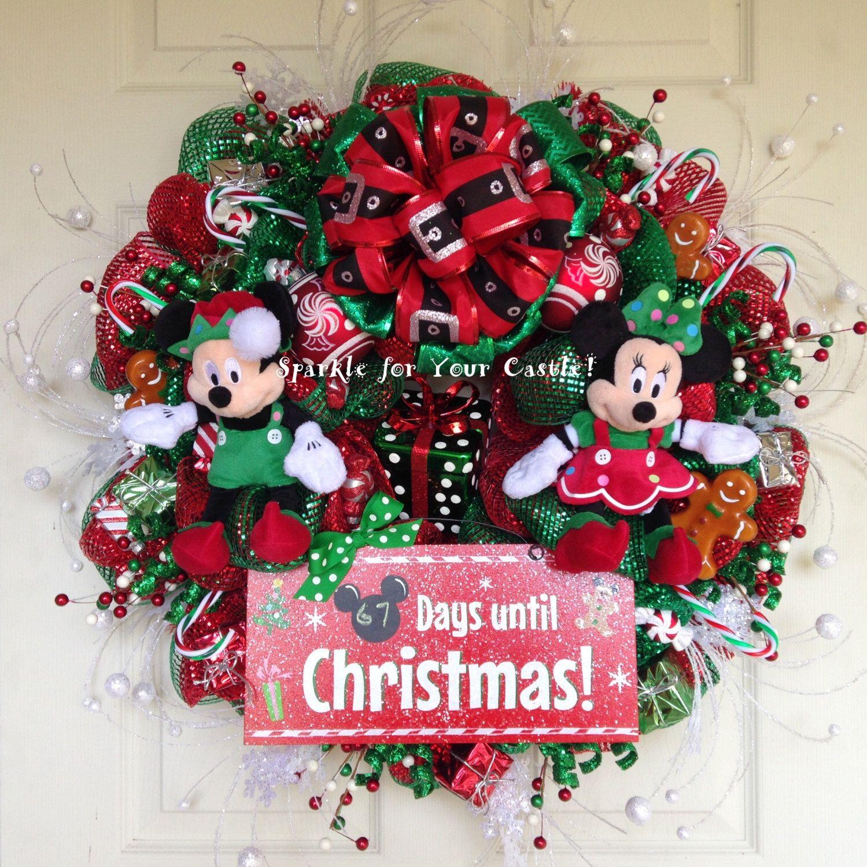 Mickey Minnie Christmas Wreath, Countdown to Christmas Wreath, Mickey Mouse Christmas Wreath, Minnie Mouse Christmas Wreth by SparkleForYourCastle on Etsy https://www.etsy.com/listing/254969539/mickey-minnie-christmas-wreath-countdown