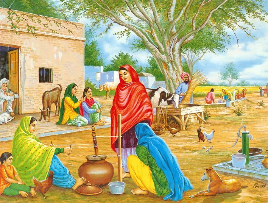 Village In Punjab In 2019 Art Village India Art Indian