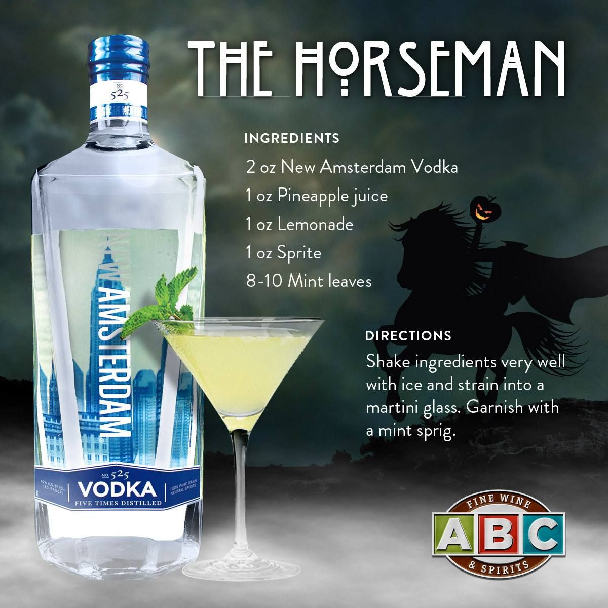 The Horseman Featuring New Amsterdam Vodka Halloween Drinks