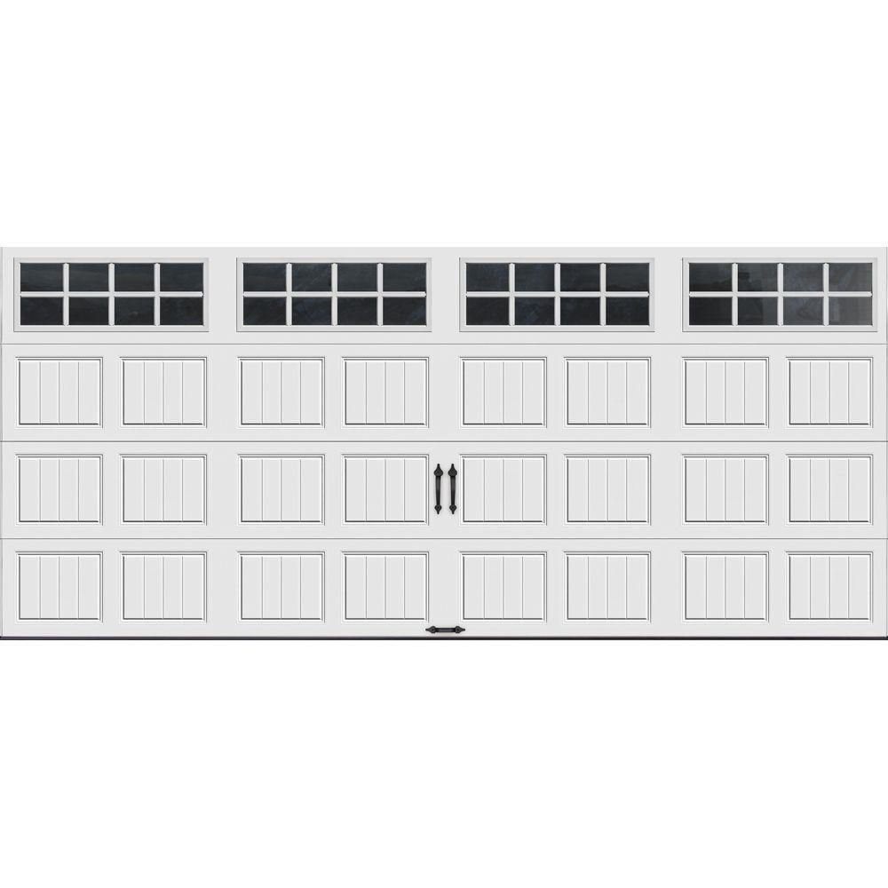 Clopay Gallery Collection 16 Ft X 7 Ft 6 5 R Value Insulated White Garage Door With Sq24 Window Carriage Style Garage Doors Residential Garage Doors White Garage Doors
