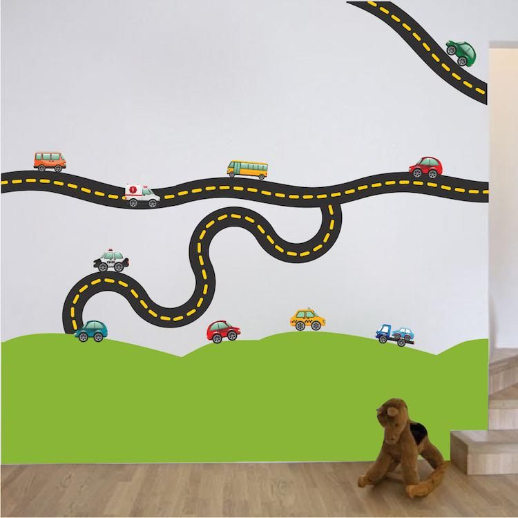 Cars And Race Track Wall Decal Kid S Bedroom Racetrack Wall Decor Removable Car Stickers B41 Sports Wall Decals Kids Wall Decals Kids Room Decals