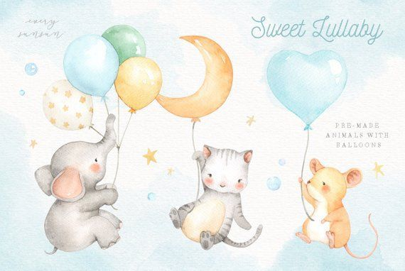 Sweet Lullaby V.2 Watercolor Clip Art Elephant Clipart ...