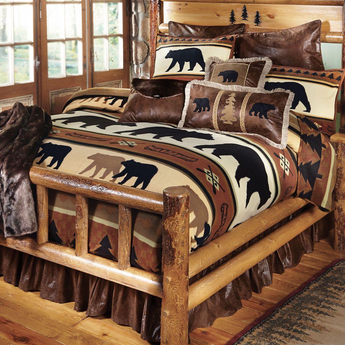 Black Bear River Plush Blanket Queen Cabin Decor Black Bear Decor Black Forest Decor